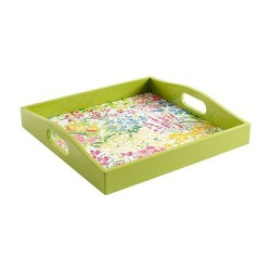 Meadow Flowers White Lacquer Square Tray by Caspari