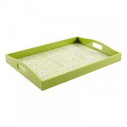 Trellis Green Lacquer Large Rectangle Tray by Caspari
