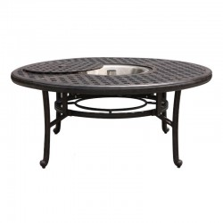 Basket Weave Round Chat Table with Ice Bucket