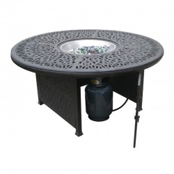 Floral Round Gas Fire Pit Chat Table