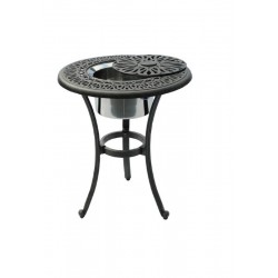 Floral Round Side Table with Ice Bucket