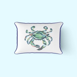 King Crab Outdoor Lumbar Pillow with Navy by Sewing Down South