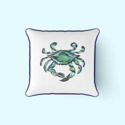 King Crab Outdoor Pillow with Navy by Sewing Down South