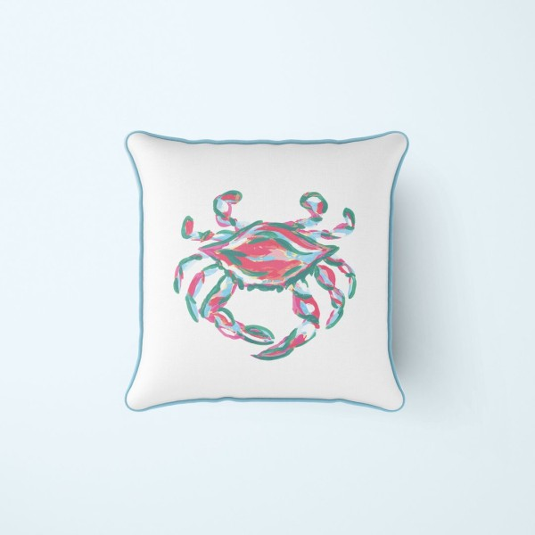 Coral King Crab Outdoor Pillow by Sewing Down South