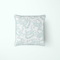 Pastel Crab Craze Outdoor Pillow by Sewing Down South