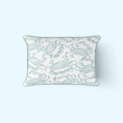 Pastel Crab Craze Outdoor Lumbar Pillow by Sewing Down South