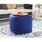 Essien Blue Outdoor Pouf