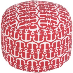 Bright Red Anchors Outdoor Pouf