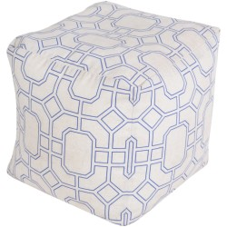 Ivory and Blue Trellis Outdoor Pouf