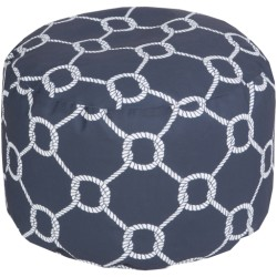 Navy Nautical Knot Outdoor Pouf