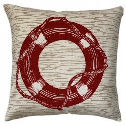 Everly Red Nautical Indoor / Outdoor Throw Pillow